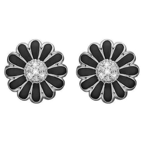 Christina jewelry & watches - Ear Clips Black Marguerite 18 mm, silver - Modelnr.: 674-S01black