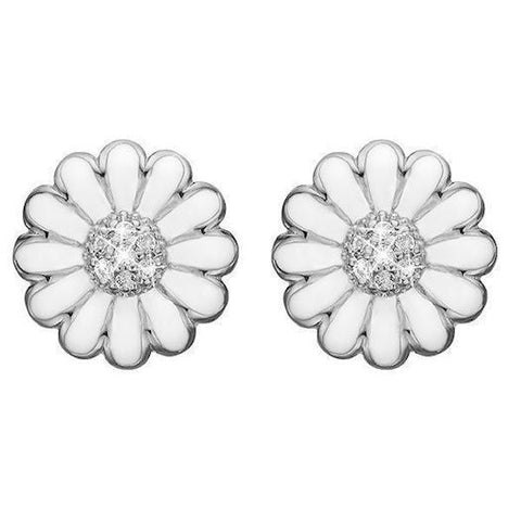 Christina jewelry & watches - Ear Clips White Marguerite 18 mm, silver - Modelnr.: 674-S01white