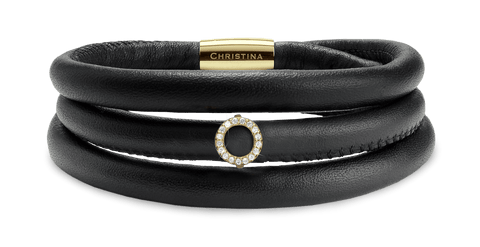 Christina jewelry & watches - 14KT. GOLD CAMPAIGN, BLACK LEATHER - Modelnr.: 695-BLACK-RG