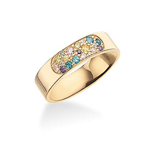 Scrouples - Ring blank forgyldt sølv med multicolor zirkoner - Model nr.: 725582