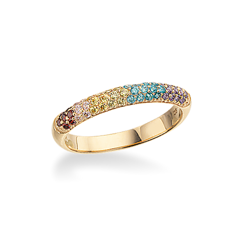 Scrouples - Ring blank forgyldt sølv med multicolor zirkoner - Model nr.: 725592