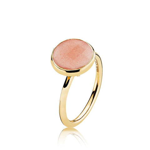 Izabel Camille - Ring med peach moonstone i blankt guldbelagt sølv - Model: a4095gs-peachmoonstone-5