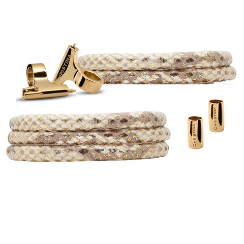 Christina Jewelry & Watches - Watch cord set, Gold snake lædersæt til ur, 16mm eller 18mm - Modelnr.: 604-GS