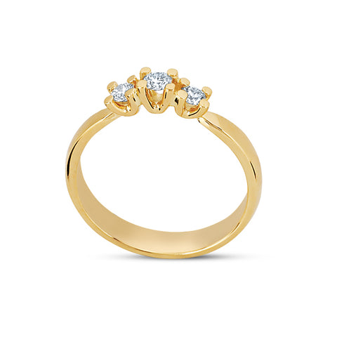 14kt. Guldring med diamant 1x0,08ct 2x0,04ct w/vs
