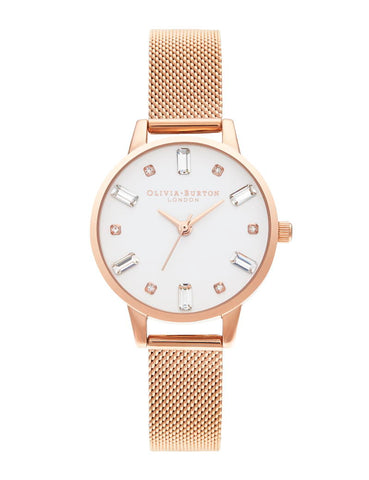OLIVIA BURTON - BEJEWELLED ROSE GOLD MESH - MODEL: OB16BJ02