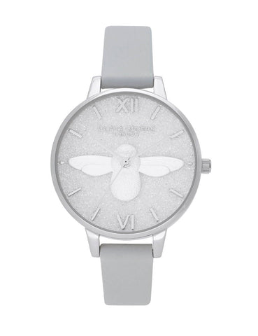 OLIVIA BURTON - GLITTER 3D BEE, ECO LIGHT GREY & SILVER - MODEL: OB16GD52