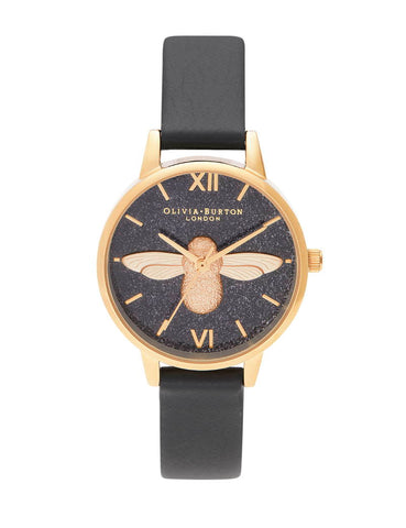 OLIVIA BURTON - GLITTER DIAL 3D BEE, ECO BLACK & GOLD - MODEL: OB16GD48