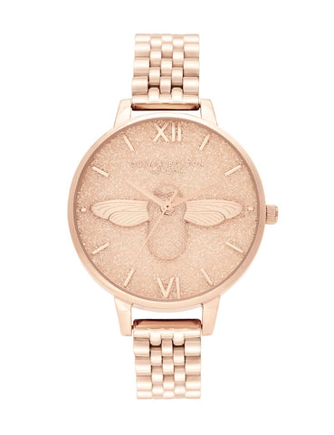 OLIVIA BURTON - GLITTER DIAL 3D BEE & PALE ROSE GOLD - MODEL: OB16GD46
