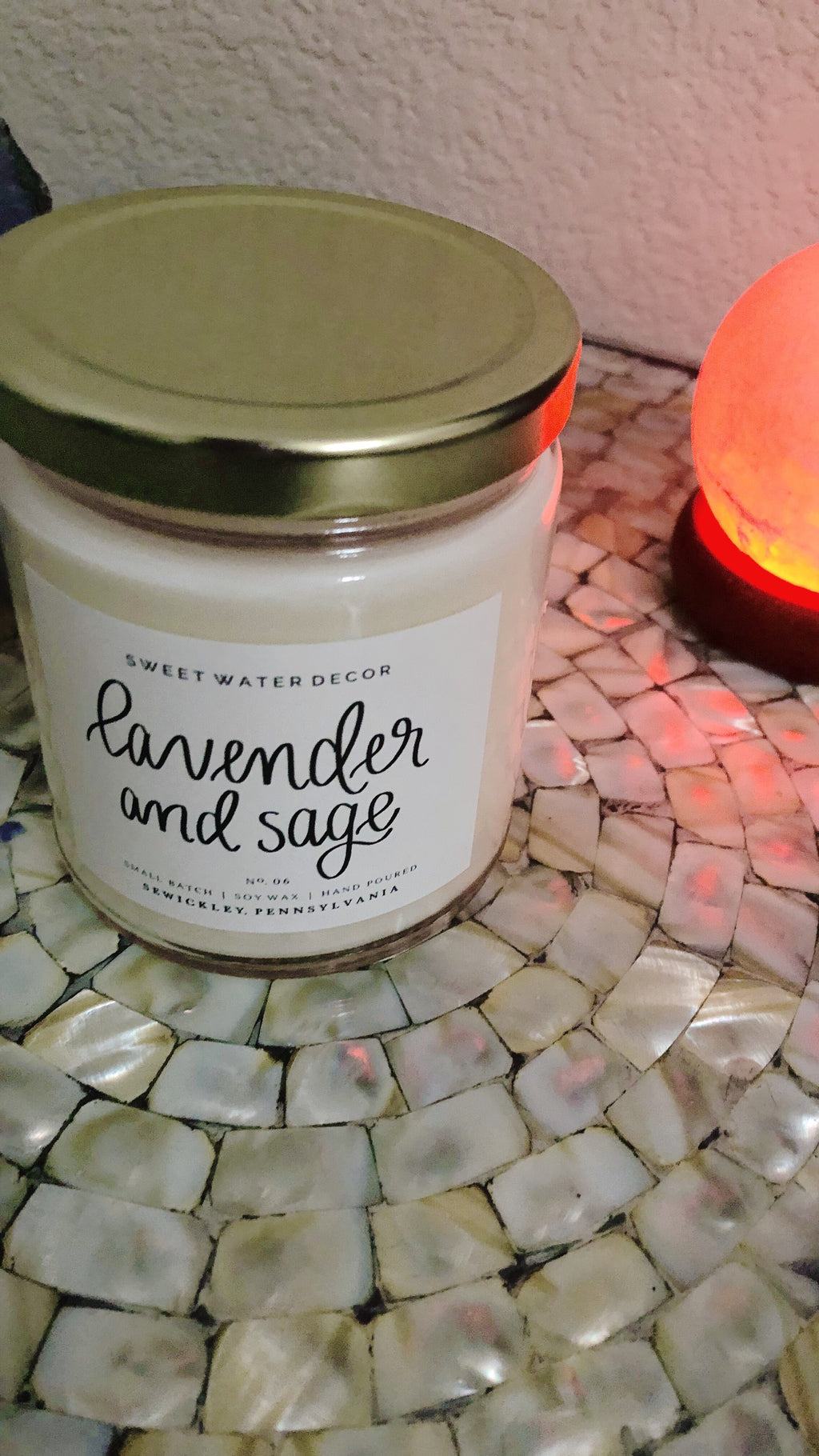 Lavender + Sage Soy Candle 9 oz | Clear Glass
