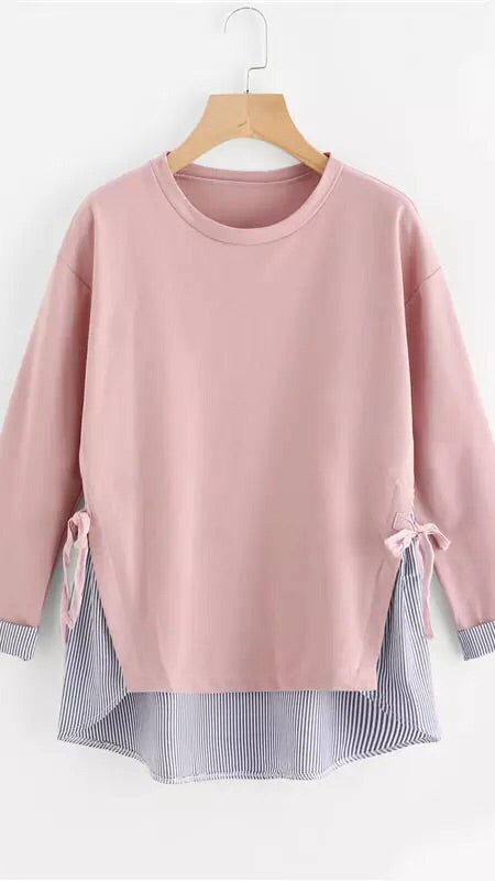 Pink With Navy Blue Stripes Shirt!