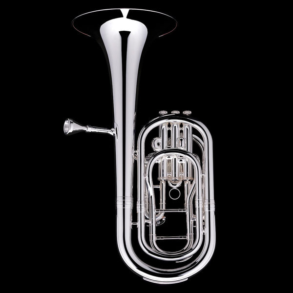 An image showing the back of a Bb Compensated Baritone (3-valve) from Wessex Tubas in silver plate