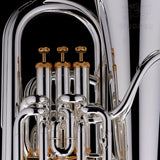 A close up image of the piston valves of a Bb Compensated Euphonium 'Dolce' in silver-plate from Wessex Tubas