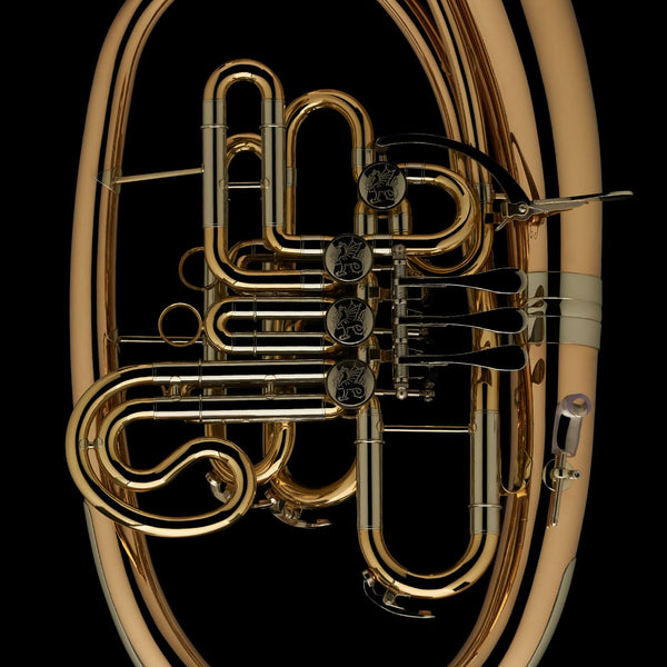 A close up image showing the detail in the tubing and valves of a Bb/F Wagner Tuba from Wessex Tubas