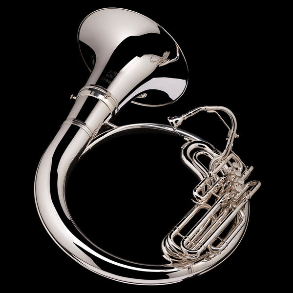 An image of the back of a Eb Helicon from Wessex Tubas, in silver-plate