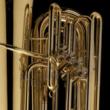 A close up image showing the detailed craftsmanship of a BBb 3/4 Tuba 'Oregon' from Wessex Tubas