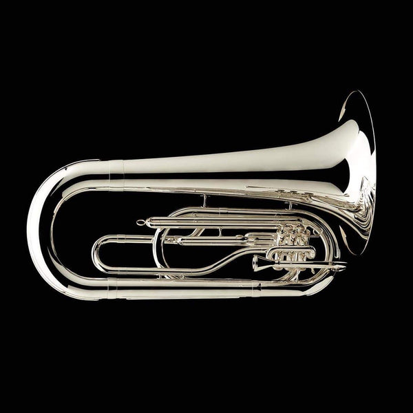 An image of a BBb 4/4 Marching Contra (tuba) in silver-plate from Wessex Tubas, facing right