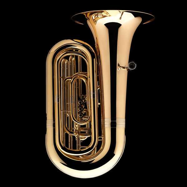 An image of the side of a BBb 4/4 Tuba with 5-valves 'Viverna' from Wessex Tubas, showing the mouthpiece and tubing