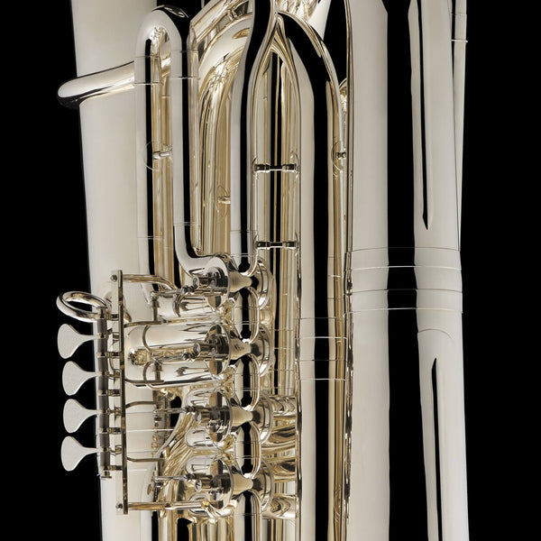 A close up image of the rotary valves of a BBb 6/4 Rotary tuba 'Kaiser' from Wessex Tubas