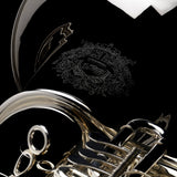 An image detailing the hand-engraving on a BBb 6/4 Rotary tuba 'Kaiser'  from Wessex Tubas