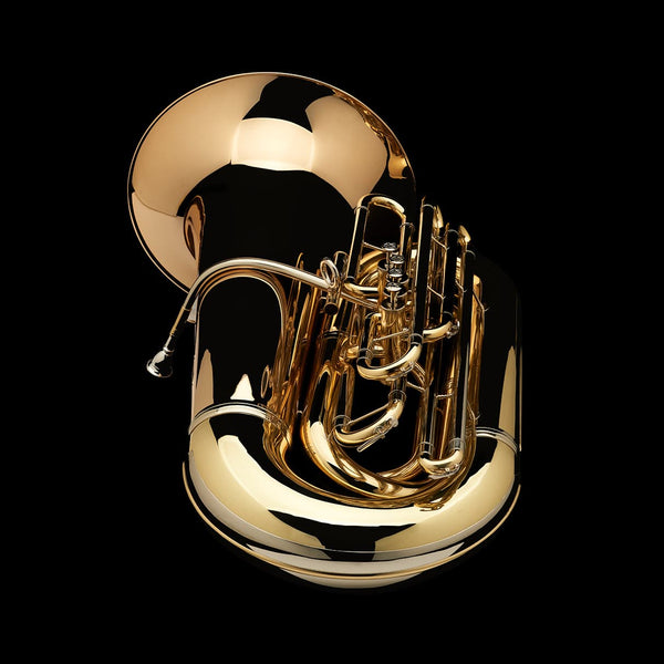"An image of the back of a BBb 6/4 Front-Piston Tuba ""Grand"" from Wessex Tubas, lying flat"