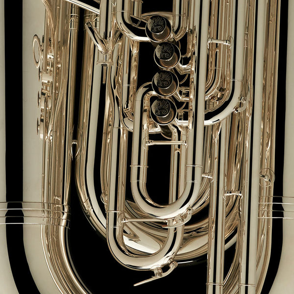 "A close up image of the engravings on the valves of a BBb 6/4 Front-Piston Tuba ""Grand"" from Wessex Tubas"