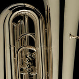 "A close up image of a BBb 6/4 Front-Piston Tuba ""Grand"" in silver from Wessex Tubas"