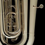 "A close up image of the exceptional craftsmanship of a BBb 6/4 Front-Piston Tuba ""Grand"" in silver-plate from Wessex Tubas"