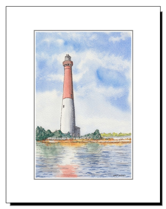 Watercolor Long Beach Island NJ Barnegat Lighthouse