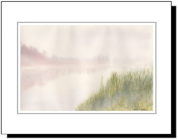 Watercolor Branch Valley Lake Fog