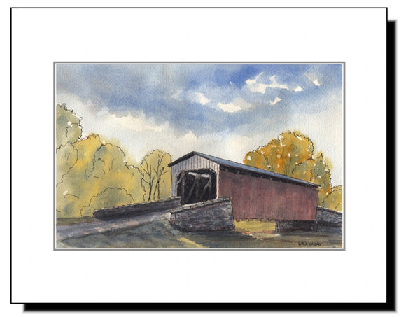 Watercolor Covered Bridge in Lancaster County PA, Amish Country