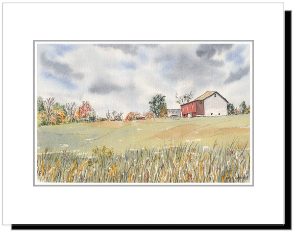 Field and Barn in Bucks County PA, Original Watercolor Mounted Print 11x14