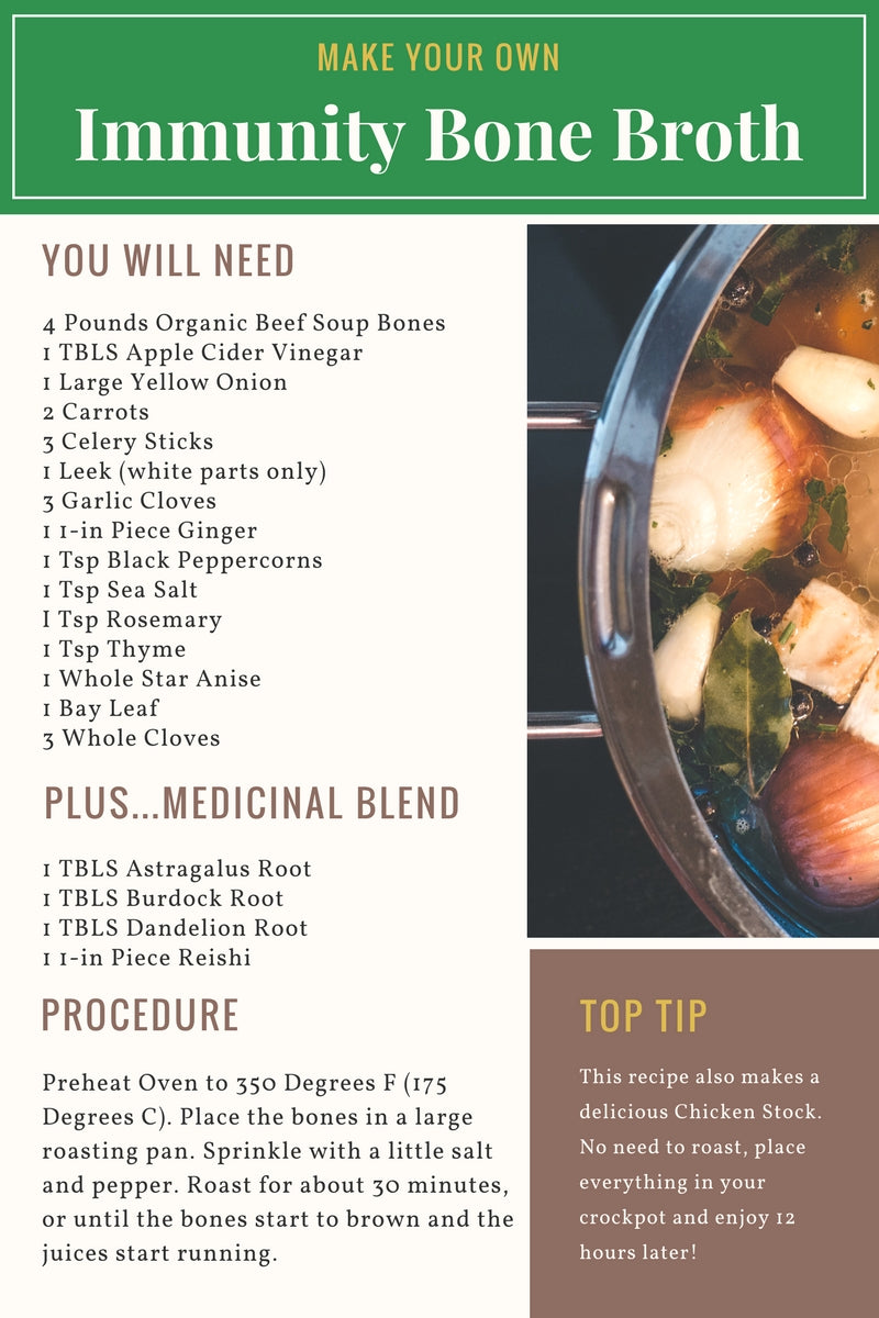 Immunity Bone Broth Image with Ingredients
