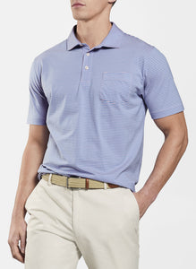 Seaside Aqua Cotton Arcata Stripe Polo