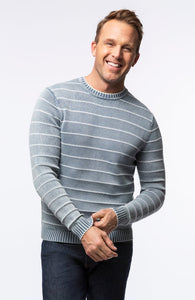 Striped Mineral Wash Crewneck Sweater