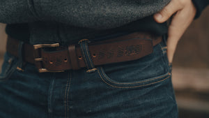 Etched Leather Belt