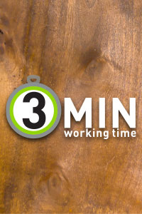 3 Minute open / working time (image: Wood with 3 min icon)