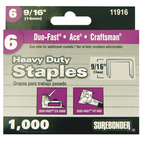 "#6 Heavy Duty Wide Crown Staples - 9/16""  - 1000 ct. - Surebonder"