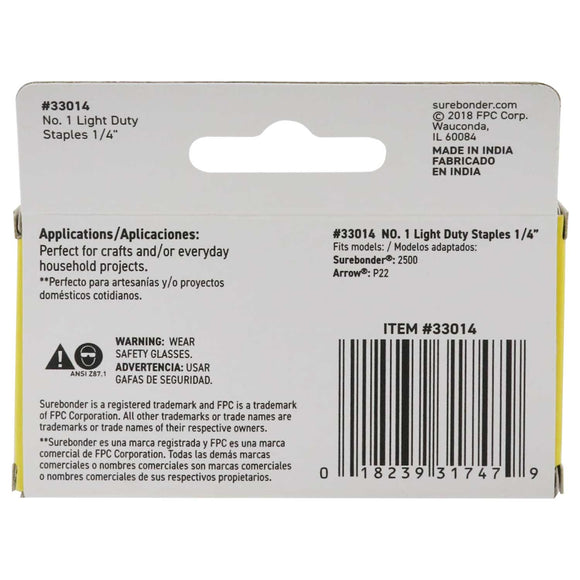 "#1 Light Duty Staples - 1/4""  - 1050 ct."