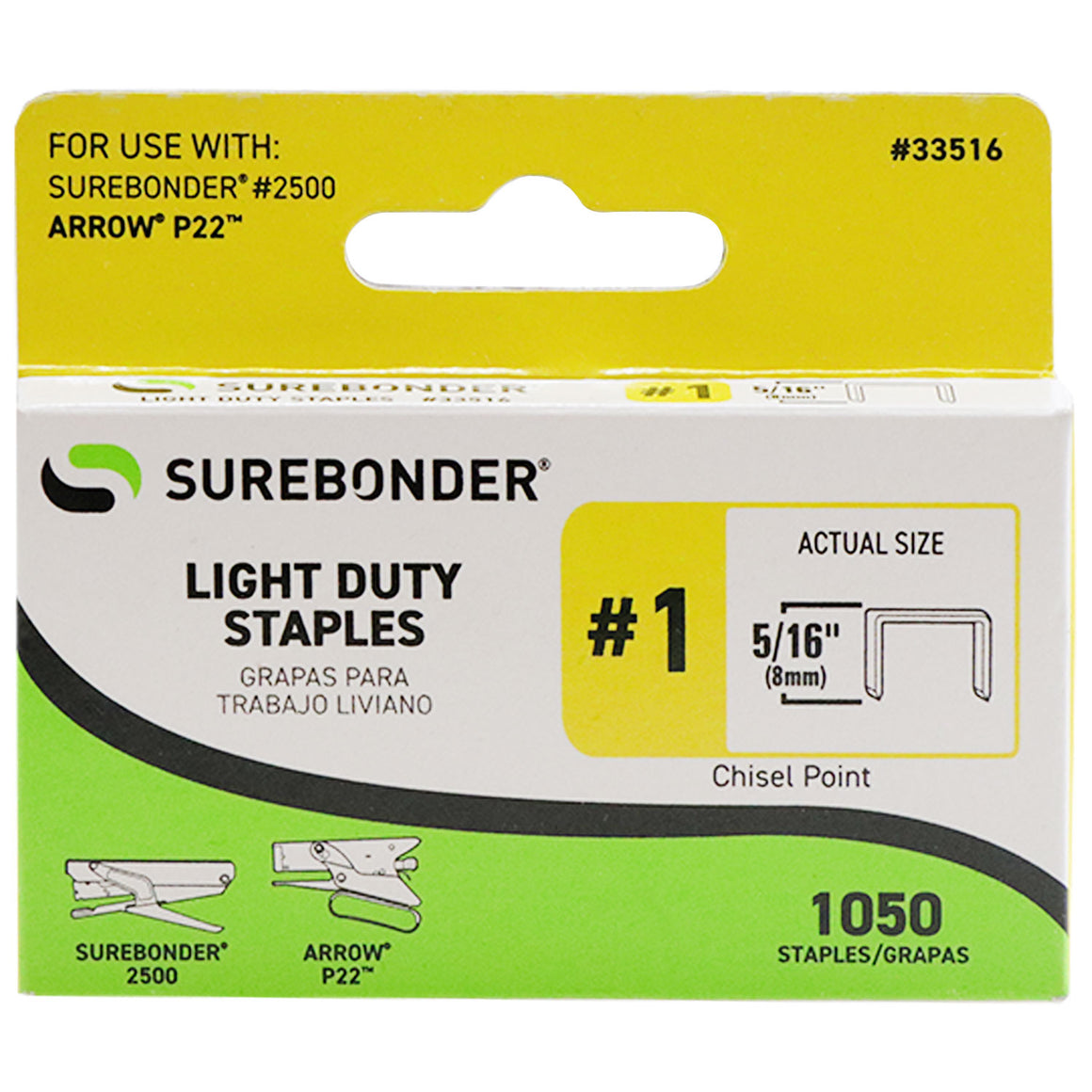 "#1 Light Duty Staples - 5/16""  - 1050 ct."