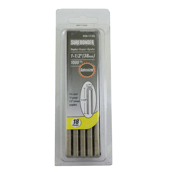"350-112G Heavy Duty 18 Gauge Staples - 1/4"" Crown, 1-1/2"" Length - 1000 Count"