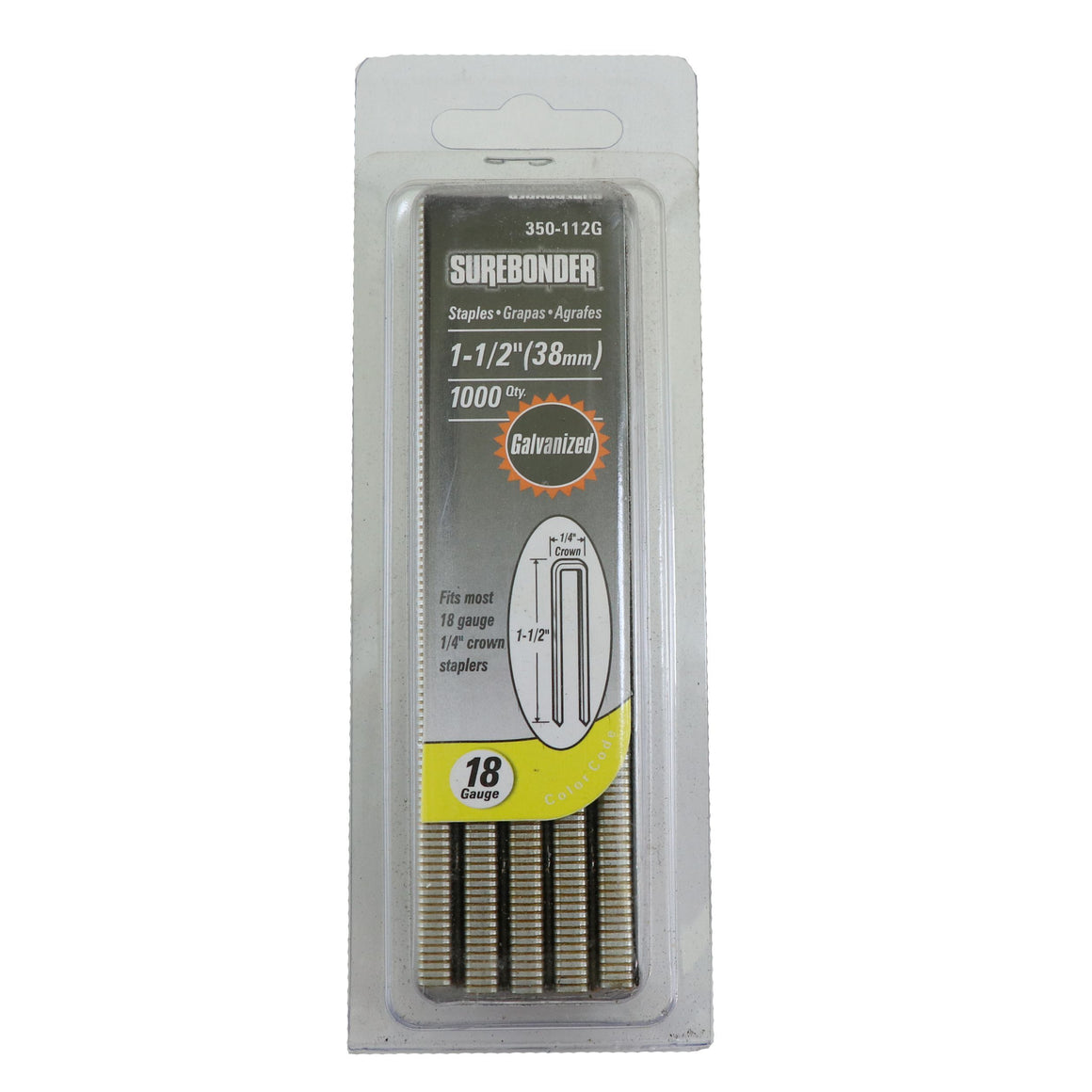 "350-112G Heavy Duty 18 Gauge Staples - 1/4"" Crown, 1-1/2"" Length - 1000 Count - Surebonder"