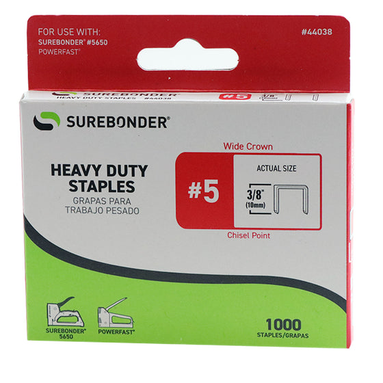 "#5 Heavy Duty Wide Crown Staples - 3/8""  - 1000 ct."