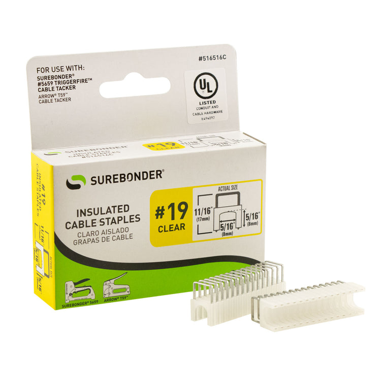 "Insulated Cable Staples, Clear, 5/16"" x 5/16"", 300 Pack, No. 19 (516516BL)"