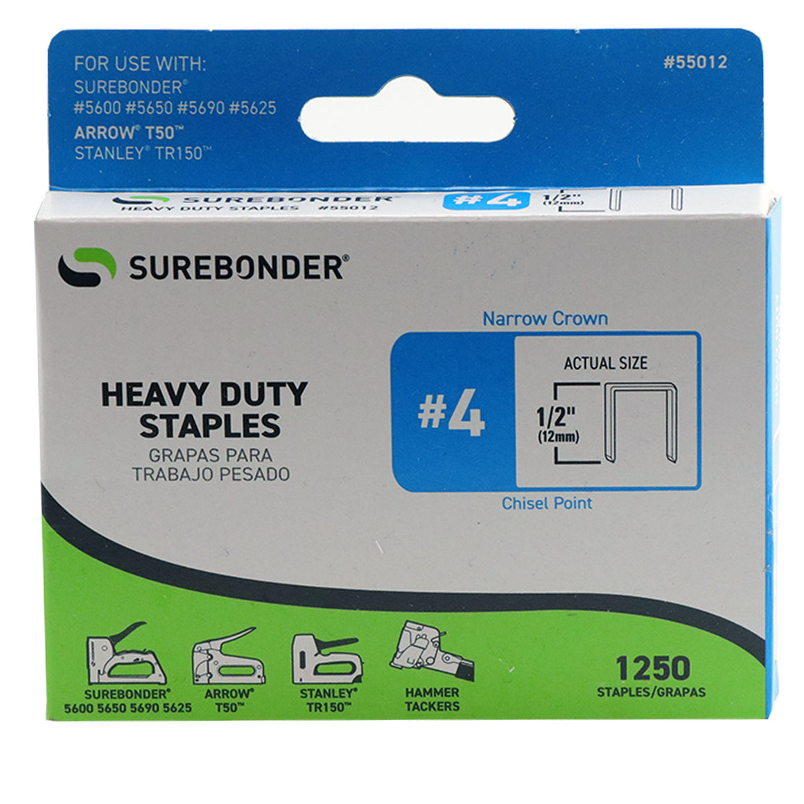 "#4 Heavy Duty 1/2"" Narrow Crown Staples - 1250 ct."