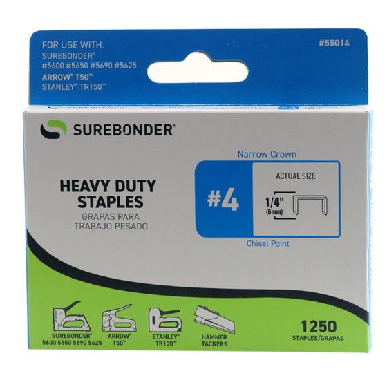 "#4 Heavy Duty 1/4"" Narrow Crown Staples  - 1250 ct."