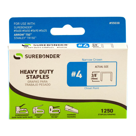 "#4 Heavy Duty 3/8"" Narrow Crown Staples - 1250 ct."