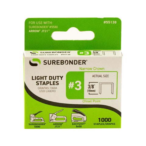 "#3 Light Duty 3/8"" Narrow Crown Staples - 1000 ct."