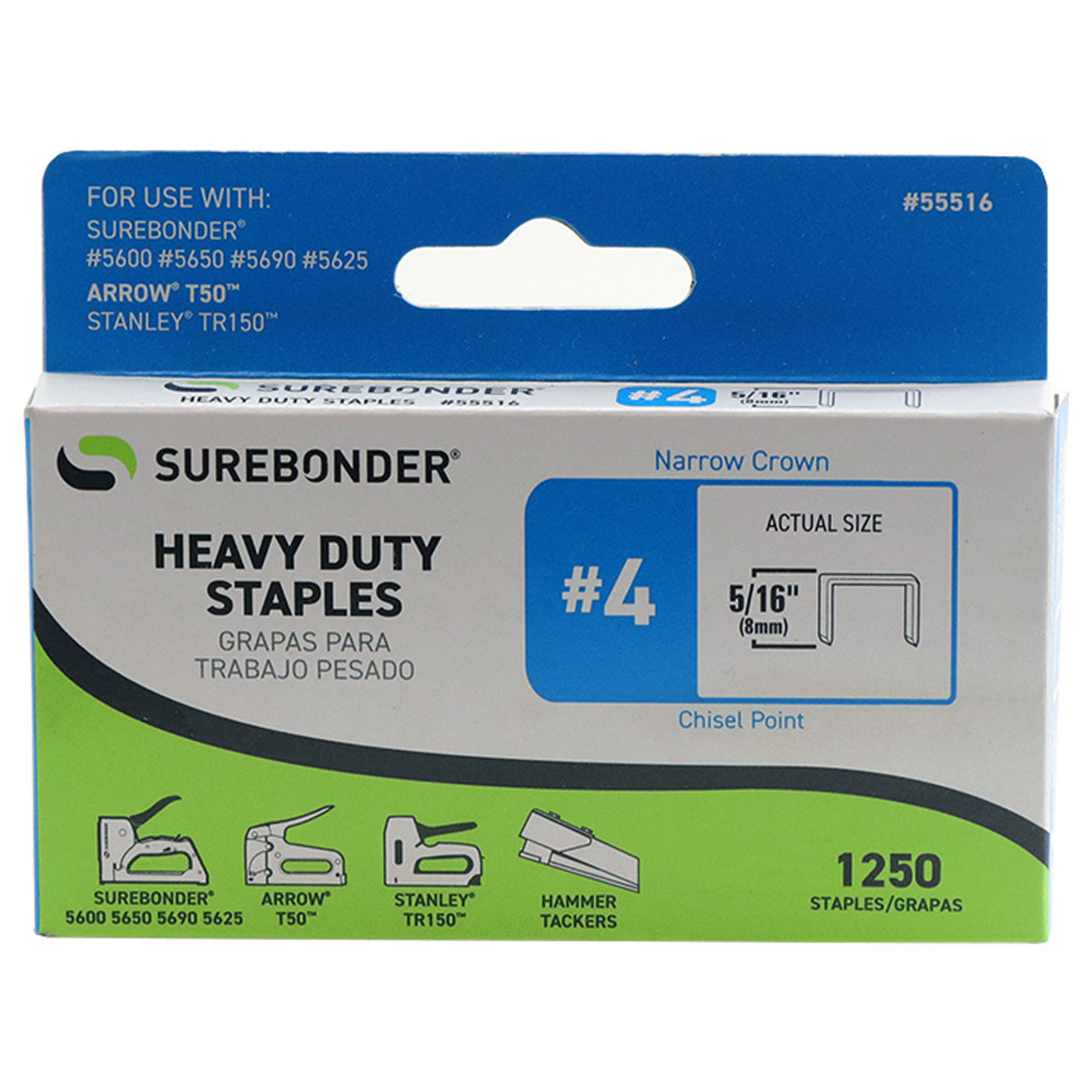 "#4 Heavy Duty 5/16"" Narrow Crown Staples - 1250 ct."