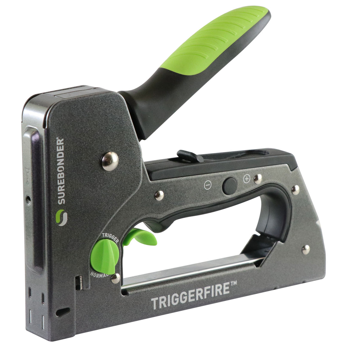 Surebonder TRIGGERFIRE staple gun with two modes: trigger and normal, cushioned rubber handle, steel construction