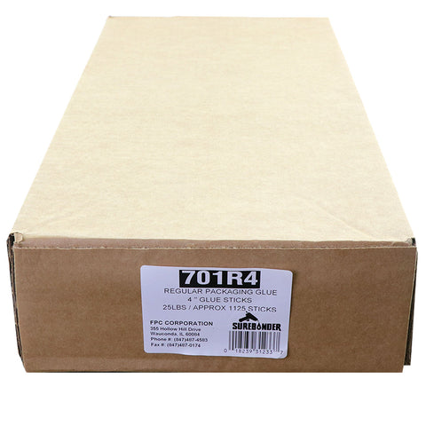 "701R4 Full Size 4"" Fast Set Hot Glue Stick - 25 lb Box"